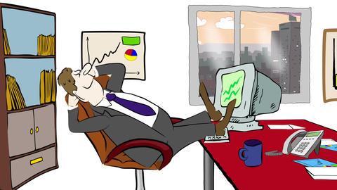 Cartoon of businessman Stock Video Footage