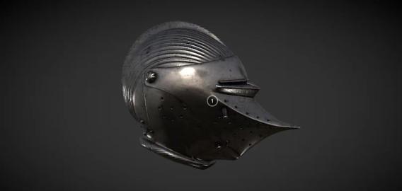Helmet with beaked visor 3D Model