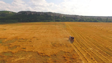 The combine travels to the field and collects wheat. Bird's-eye Live Action