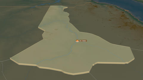 River Nile extruded. Sudan. Stereographic relief map Animation