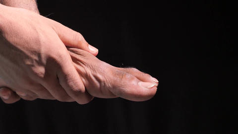 Close up on young man suffering feet pain Live Action