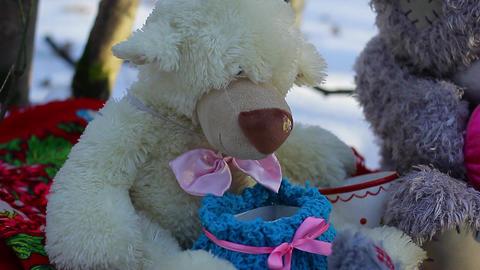 Big teddy bear with christmas toys left panorama 1 Footage