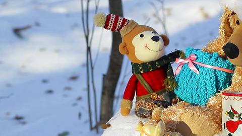 Christmas toys with presents horizontal panorama Footage