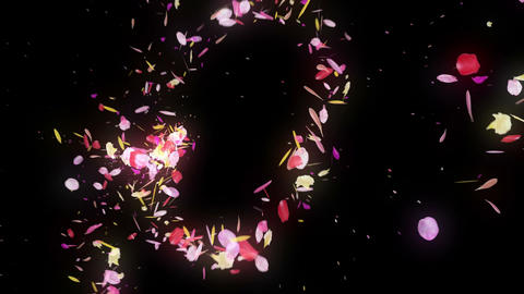 Spin of colorful petals,Particle CG Animation,Black Background CG動画素材