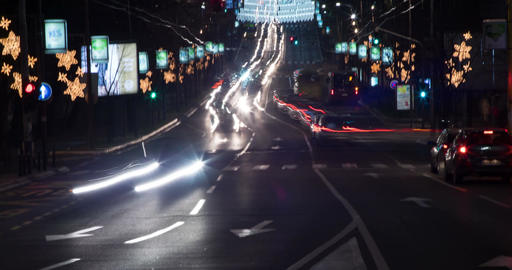 Street Nights Christmas 4K Timelapse. 2