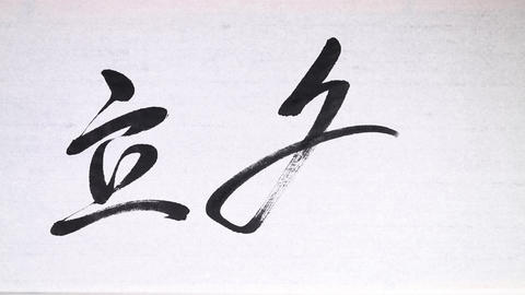 """Chinese calligraphy of one of 24 Chinese solar terms """" the beginning of winter """" Footage"""