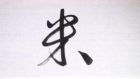 "Chinese calligraphy of ""rice"" , which is a traditional Chinese food Footage"