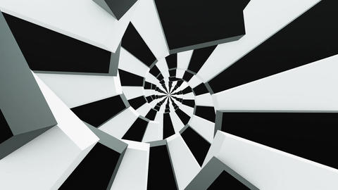 Rotating stairs in black and white colors Animation