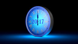 Fabulous blue clock, midnight. New Year 2017. Christmas. 3D animation Animation