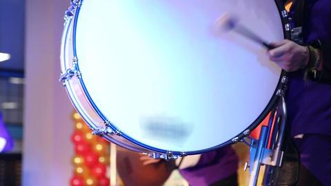 The drummer plays on big drum Footage