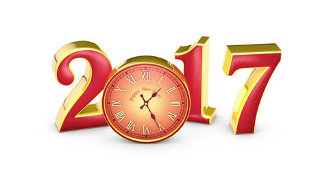 New Year 2017. Christmas. Red numbers and clock, midnight. 3D animation Animation