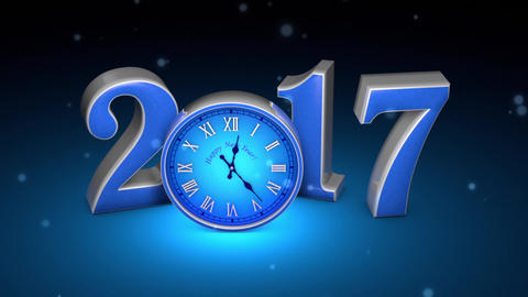 Christmas magic. Fabulous blue clock and numbers, midnight. New Year 2017. 3D an Animation