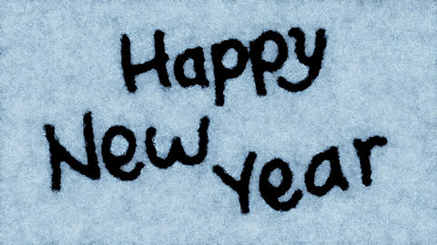 Beautiful Animation of the Text Appearing on the Snow. Happy New Year Theme. HD  Animation