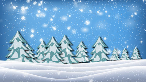 Seamless animation white snowy and snow winter landscape with dry and christmas  Animation