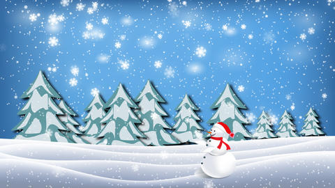 A snowman is walking through the winter spruce forest in snow Animation