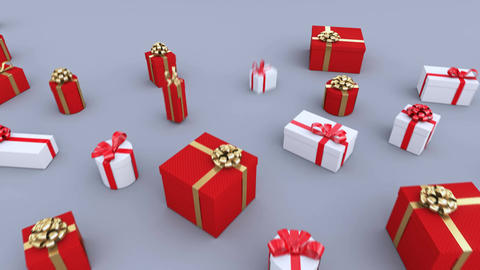 Gifts growing from the ground. A lot of Christmas gifts. Seamless loop. 4K Animation