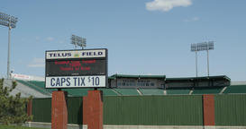Telus field pan down from sky to signage Live Action