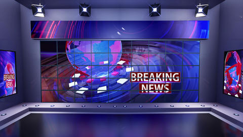 3D virtual news studio with news background Loop 4k Animation