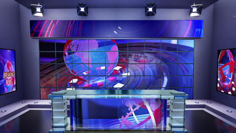 3D virtual news studio Broadcaster table with news background 1 Animation
