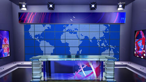 3D virtual news studio Broadcaster table with news background 2 Animation