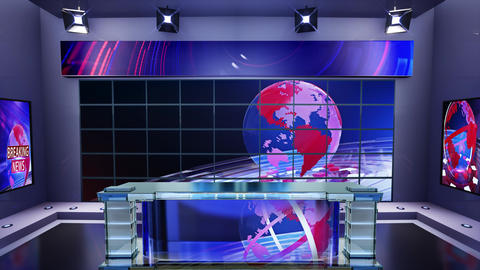 3D virtual news studio Broadcaster table with news background 3 Animation