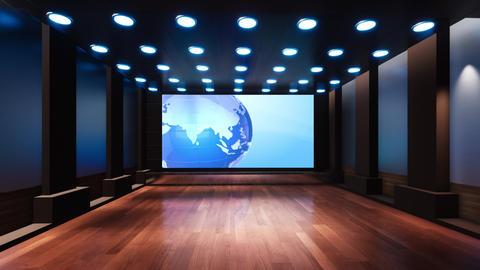 Wooden News Studio 3D Virtual TV Studio News 2 Animation