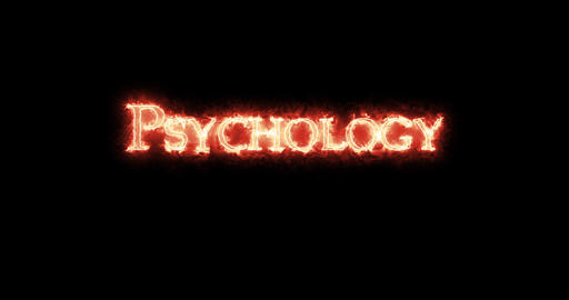 Psychology written with fire. Loop Animation