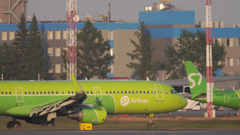 S7 Airlines Airbus A320 airliner taxiing at Tolmachevo airport Live Action