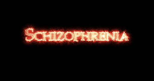 Schizophrenia written with fire. Loop Animation