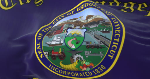 Bridgeport city flag, Connecticut state, United States of America - loop Animation