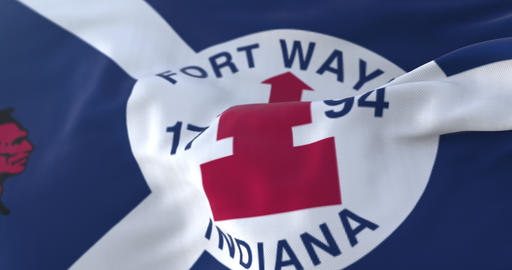 Fort Wayne city flag, Indiana in USA or United States of America - loop Animation