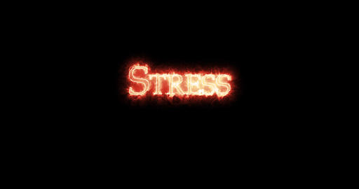 Stress written with fire. Loop Animation