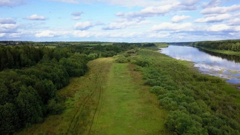 HD Drone Flight Over A Field River And Forest