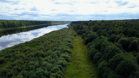 HD Drone Flight Over A Field River And Forest 2