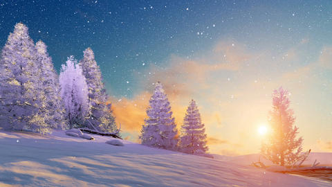 Snowy winter landscape at sunset or sunrise Footage