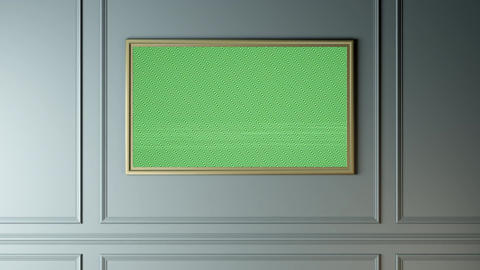 The wall with a picture of a TV, green screen alpha Animación
