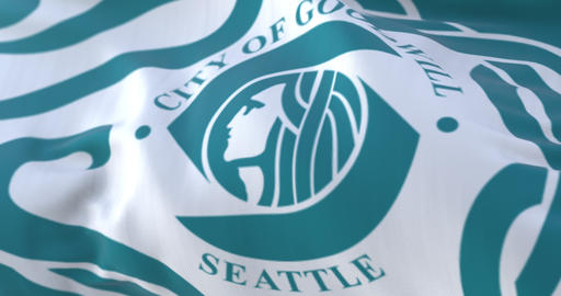 Seattle city flag, city of USA or United States of America - loop Animation