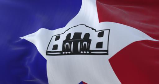 San Antonio city flag, city of USA or United States of America - loop Animation