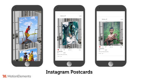 Postcards display stand for Intagram and Facebook After Effects Template