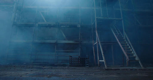 Old fabric manufactory building in the smoke. Dark Space atmosphere. Abandoned f Footage
