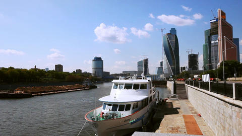 Barge floats on the Moscow river in Moscow city Footage