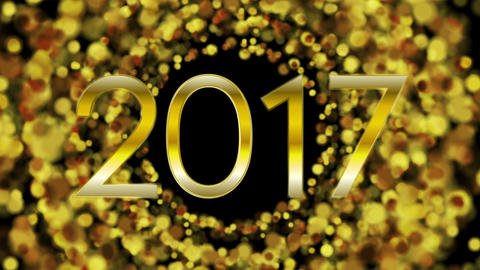 Glowing golden particles New Year 2017 video animation Animation