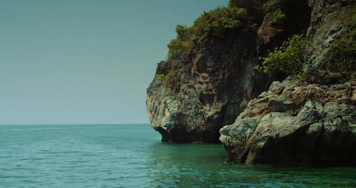 Beautiful Deserted Islands in the middle of Pacific ocean. Wild islands, Rocky c Footage