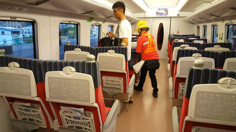 Turn chairs in train compartment Live Action