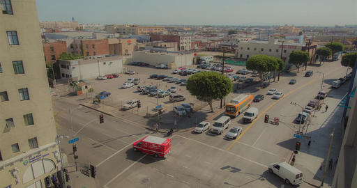 Downtown Los Angeles crossroads timelapse, bird eye view Footage