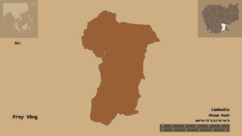Prey Veng location. Cambodia. Solid patterned map Animation