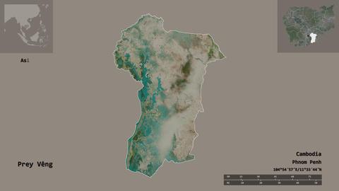 Prey Veng location. Cambodia. Satellite map Animation