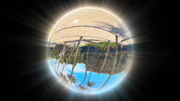 Beautiful Tropical Landscape seen through a Glass Globe, seamless loop Footage