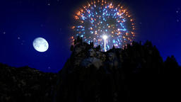Mount Rushmore at night, 4th of July fireworks Footage