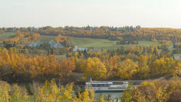 Edmonton Queen Riverboat and Muttart Conservatory in fall